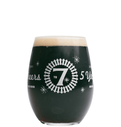 Track 7 glass with dark stout beer