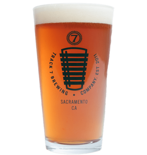 Track 7 pint glass with medium beer